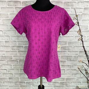 Coldwater Creek Women's Fushia Eyelet T- Shirt
